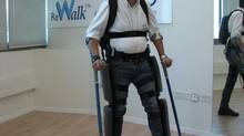 A spinal patient uses ReWalk, an exoskeleton suit made by the Israel company Argo Medical Technologies. (Argo Medical Technologies)