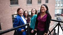 Cynthia Goh, U of T professor of chemistry, left, with three principals of Pueblo Science, Andrea Nagy, Emina Veletanlic and Mayrose Salvador. The group plans to market a science literacy kit that uses inexpensive household materials such as discarded batteries. Rosa Park for The Globe and Mail<133>