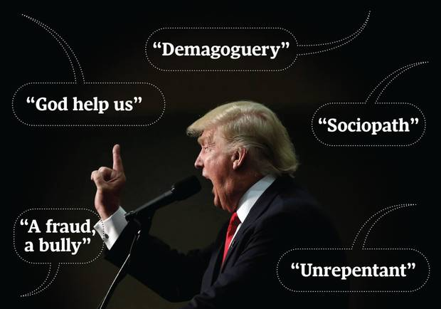 Just some of the words used by Republican figures describing why they can't vote Donald Trump.