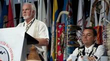 Roger Augustine, Regional Chief for New Brunswick and Prince Edward Island, speaks to the 32nd Annual General Assembly of the Assembly of First Nations in Moncton, July 12, 2011. (David Smith/The Canadian Press)