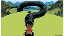 BC Dispatch cartoon. David Parkins Pipeline project will be top issue for incoming premier and both Liberals and NDP seem set to say 'no' (DAVID PARKINS for The Globe and Mail)