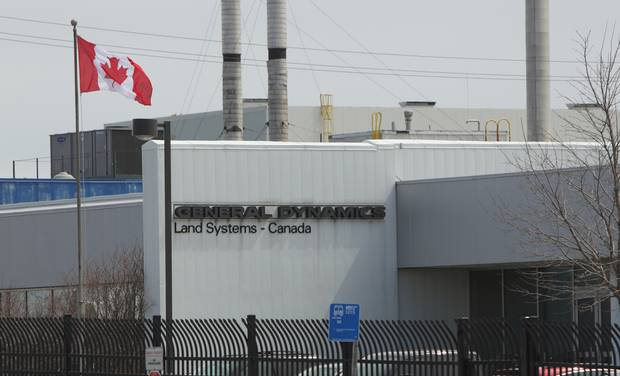 The front of the General Dynamics plant in London, Ont.