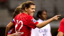 Canada's Christine Sinclair celebrates her penalty kick goal against Cuba during the first half of play in a CONCACAF women's Olympic qualifying soccer game in Vancouver, B.C., on Saturday January 21, 2012. (DARRYL DYCK/THE CANADIAN PRESS)