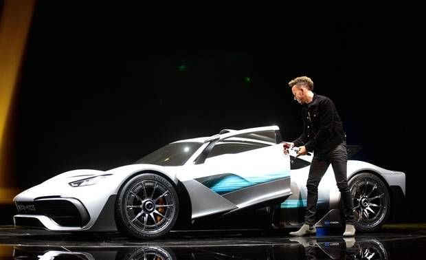 FRANKFURT AM MAIN, GERMANY - SEPTEMBER 12: Lewis Hamilton presents the new concept car Mercedes AMG Project one at the 'Internationale Automobil-Ausstellung (IAA)' on September 12, 2017 in Frankfurt am Main, Germany.