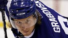 Toronto Maple Leafs forward Mikhail Grabovski waits for a face-off against the Buffalo Sabres during the second period of their NHL pre-season hockey game in Toronto September 27, 2010 (Reuters)
