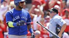 Toronto Blue Jays' Juan Francisco tosses his bat after striking out against Cincinnati Reds starting pitcher Johnny Cueto in the eighth inning of a baseball game on Sunday, June 22, 2014, in Cincinnati. Cincinnati won 4-3. (Al Behrman/AP)
