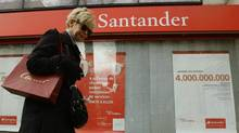 Santander's shares have dropped about 40 per cent in the last year as the bank, along with Spanish rival BBVA, has been lumped together with the rest of the country's domestic-focused . (ANDREA COMAS/REUTERS)
