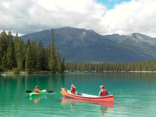 Canoeing and kayaking at the Jasper Park Lodge.