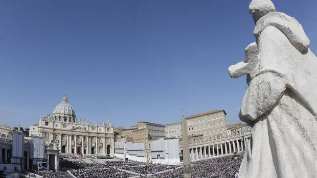 A view of St. Peter's Square, at the Vatican, as Pope Benedict XVI celebrates a canonization ceremony, Sunday, Oct. 21, 2012. The pontiff canonized seven people: Kateri Tekakwitha, Maria del Carmen, Pedro Calungsod, Jacques Berthieu, Giovanni Battista Piamarta, Mother Marianne Cope, and Anna Shaeffer. (Alessandra Tarantino/AP)