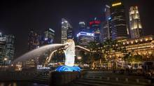 Singapore's iconic Merlion statue harkens to the high-tech city's fishing origins. (Edwin Koo/Edwin Koo for The Globe and Mail)