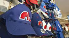 Nordiques ballcaps are lined up on display at a sporting goods shop in Quebec City on Feb. 10, 2011. (Jacques Boissinot/THE CANADIAN PRESS)