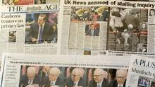 The generval view shows newspapers in Melbourne on July 21, 2011. (WILLIAM WEST/AFP/Getty Images)