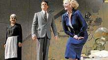 Paul Gross watches as Kim Cattrall takes a bow at end of the opening show of Private Lives by Noel Coward at the Royal Alexander Theatre in Toronto, Sept. 25 , 2011. (J.P. MOCZULSKI/The Globe and Mail/J.P. MOCZULSKI/The Globe and Mail)