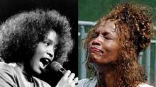 Whitney Houston, right, as a rising star in 1988, and left in 2003 as a troubled shell of her former self. (Associated Press/Associated Press)