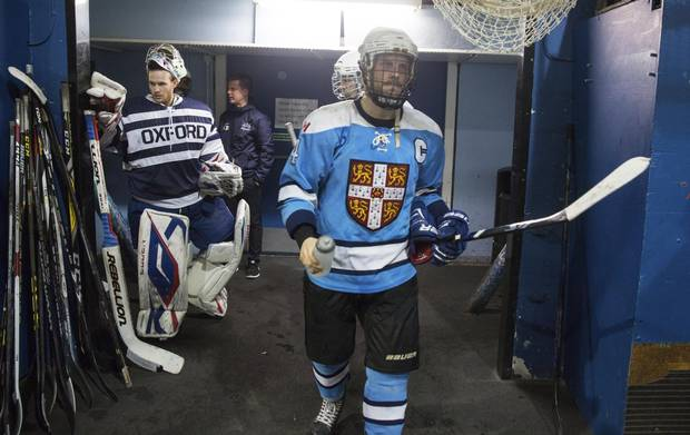 Members of Oxford men's Blues hockey team and Cambridge mens Blues exit their dressing rooms before their game on March 3, 2018.