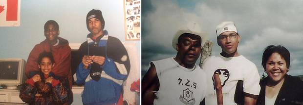 Left: Lionel's friend Sheldon Borden, a young Chantel Desmond and Lionel Desmond as a teen at a tutoring program in Lincolnville, N.S. Right: Lionel Desmond's father, Kenneth Jones, Lionel Desmond and his sister Diane Desmond.