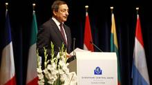 New ECB President Mario Draghi delivers a speech during a farewell ceremony for outgoing president Jean-Claude Trichet in Frankfurt on October 19, 2011. (KAI PFAFFENBACH/KAI PFAFFENBACH/AFP/GETTY IMAGES)