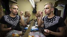 Nikita and fellow performer Timur get ready for their drag queen show backstage at the Mayak nightclub, a well known gay bar in Sochi City February 7, 2014. (John Lehmann/The Globe and Mail)