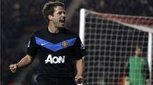 Manchester United's Michael Owen celebrates after scoring against Southampton during their FA Cup soccer match at St Mary's Stadium in Southampton January 29, 2011. (STEFAN WERMUTH/Reuters)