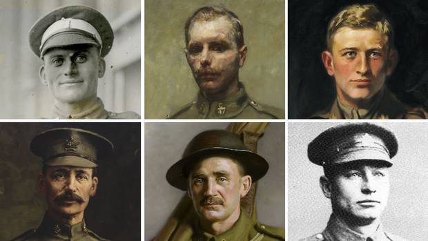 Six Canadian soldiers received the Victoria Cross for their service at the Battle of Hill 70. Clockwise from top left: Sergeant-Major Robert H. Hanna; Acting Corporal Filip Konowal; Major Okill Massey Learmonth; Private Harry W. Brown; Private Michael O'Rourke; and Sergeant Frederick Hobson.
