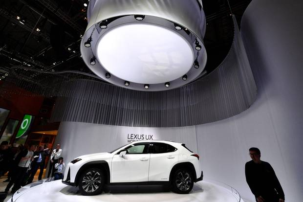 The new Lexus UX on display at Geneva International Motor Show on March 6, 2018.