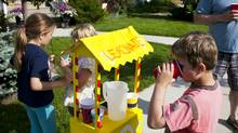 Neighbourhood kids run a lemonade stand on the front street of their Calgary neighbourhood of Garrison Woods. (Chris Bolin for The Globe and Mail/Chris Bolin for The Globe and Mail)