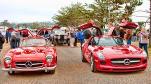 Mercedes-Benz gullwings served as the lead vehicles at the 2010 Pebble Beach Tour d'Elegance.