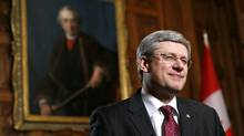 Prime Minister Stephen Harper discusses foreign takeovers at an interview in his office on Parliament Hill in Ottawa on Feb. 3, 2012. (CHRIS WATTIE/REUTERS/CHRIS WATTIE/REUTERS)