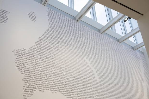 Jordan Abel's large-scale work, Cartography (12), was created in the shape of Burrard Inlet. Abel conducted Control-F searches through digital versions of old western novels to find words related to a theme.