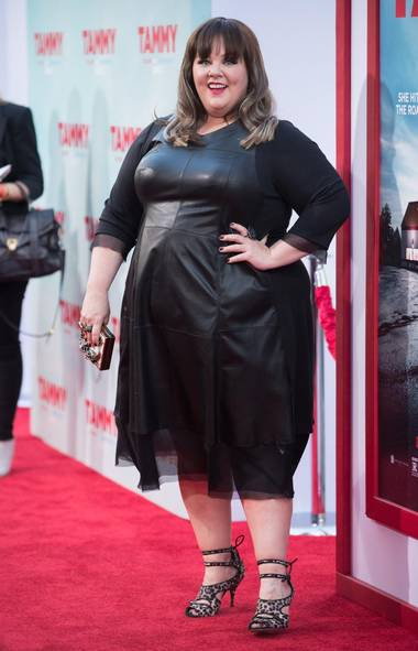 Melissa McCarthy wore some kind of rubbery and completely unflattering outfit to the Los Angeles premiere of her new film Tammy. Good on you, girlfriend! (Richard Shotwell/Invision/AP)