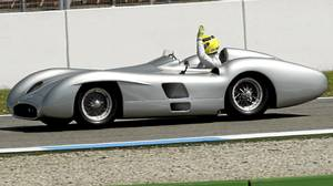 The closed wheel version of the Mercedes-Benz W196 Grand Prix car.