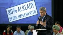Prime Minister Stephen Harper delivers an update on federal stimulus spending at a town-hall meeting in Cambridge, Ont., on June 11, 2009 (DAVE CHIDLEY)
