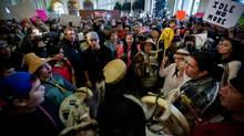 First Nation demonstrations, such as a drum circle in Vancouver in January, raised awareness about native issues. (DARRYL DYCK For The Globe and Mail)