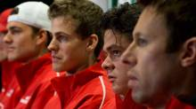 From left to right, Canada's Frank Dancevic, of Niagara Falls, Ont., Vasek Pospisil, of Vernon, B.C., Milos Raonic, of Toronto, Ont., and Daniel Nestor, of Toronto, Ont., attend the draw for the Davis Cup tennis tie against Spain in Vancouver, B.C., on Thursday January 31, 2013. The matches are being held Feb. 1-3. (DARRYL DYCK/THE CANADIAN PRESS)
