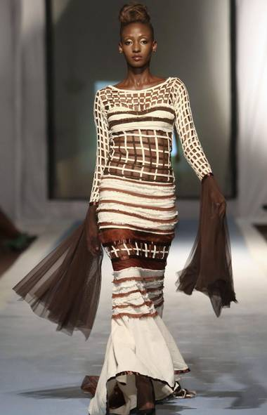 A model wears a creation by Sonia Noel Designs at Guyana Fashion Week (ANDREA DE SILVA/REUTERS)
