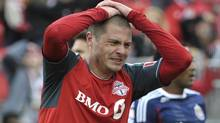 Toronto FC's Danny Koevermans reacts after a scoring opportunity during the second half of their MLS soccer match against Chivas USA in Toronto April 14, 2012. (MIKE CASSESE/REUTERS)