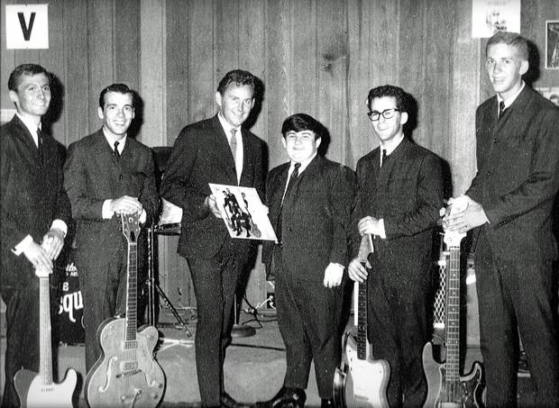 Paul White, third from left, is shown with members of the Esquires, from left, Don Norman, Paul Huot, Richard Patterson, Gary Comeau and Clint Heirlihy. Taken in the early 1960s.
