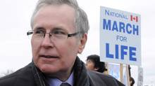 Conservative MP and pro-life supporter Stephen Woodworth takes part in the March For Life rally on Parliament Hill in Ottawa on Thursday, May 10, 2012. Woodworth is pushing for legislation to have fetuses declared persons (Sean Kilpatrick/The Canadian Press)