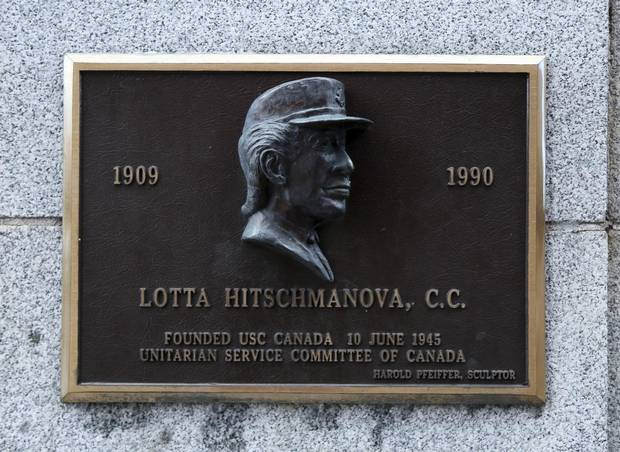 A plaque honouring Dr. Lotta Hitschmanova at the USC offices, 56 Sparks St. in Ottawa.