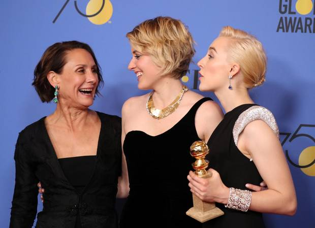 Many stars opted to wear black at the Golden Globes in support of the #TimesUp movement at the 75th Golden Globes. Shown here, from left, Laurie Metcalf, Greta Gerwig and Saoirse Ronan of Lady Bird.