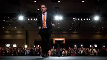 B.C. NDP Leader Adrian Dix walks away from the podium and leaves the stage after conceding defeat in the provincial election in Vancouver, B.C., on Tuesday May 14, 2013. (DARRYL DYCK/THE CANADIAN PRESS)