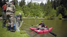 Municipal and provincial government officials prepare a fishing net to try to catch the snakehead fish in the lower pond at Central Park in Burnaby, British Columbia, Wednesday, May 23, 2012. (Rafal Gerszak for The Globe and Mail)