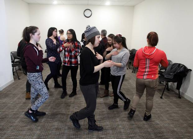Members of the Nunavik Nordiks takes part in a team bonding exercise at their hotel March 25, 2017 in Ottawa. The Inuit girl's hockey team is in Ottawa for a tournament. DAVE CHAN / THE GLOBE AND MAIL