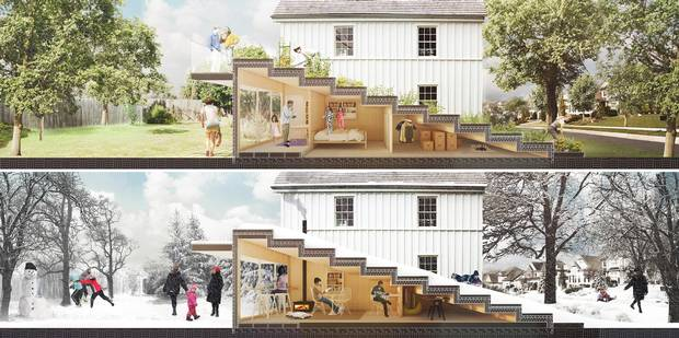 Edmonton Infill Design Competition entry. 'Tweener' by Winnipeg-based 5468796 Architecture.