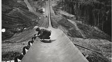 The W.A.C. Bennett Dam at the head of the Peace River Canyon was completed in 1967. (BC Hydro)