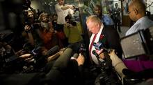 Toronto Mayor Rob Ford addresses media outside his office in Toronto on Thursday, Oct. 31, 2013. (Nathan Denette/The Canadian Press)