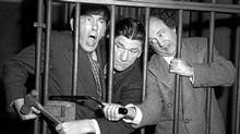 Moe Howard, Shemp Howard and Larry in a 1955 Three Stooges film: Their slapstick involves cruelty and predictability.