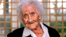 Jeanne Calment is officially the world's oldest person in the world. She was born Feb. 21, 1875, and died at the age of 122, on Aug. 4, 1997. (Reuters)