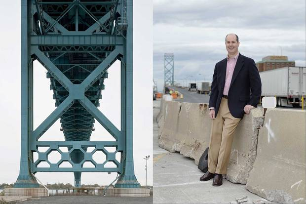 (Left) Under the Detroit side of the Ambassador Bridge. (Right) Matthew Moroun, Matty's heir apparent, thanked Prime Minister Trudeau after the Canadian government granted a permit for the new bridge
