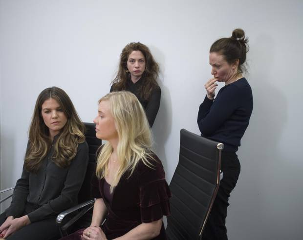 From left: Actors Diana Bentley, Kristin Booth (front), Hannah Miller and Patricia Fagan, attend a press conference at law firm Levitt LLP on Jan. 4, 2018. The actors spoke about their claims of sexual misconduct and harassment against Albert Schultz and the Soulpepper Theatre Company.